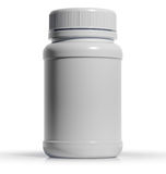 Plastic medical container for pills or capsules Royalty Free Stock Images