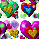 Plastic melting hearts seamless Stock Images