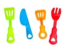 Plastic mes en vork Royalty-vrije Stock Afbeelding