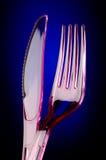 Plastic mes en vork Royalty-vrije Stock Afbeeldingen