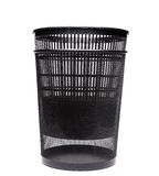 Plastic into metal trash cans on white background Royalty Free Stock Photography