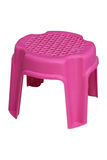 Plastic mini chair pink isolate on white. The plastic mini chair pink isolate on white Royalty Free Stock Photo