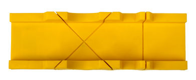 Plastic mitre box on white Royalty Free Stock Photo