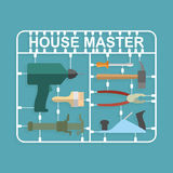 Plastic model kits Construction tools.  House master Stock Photo