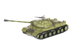 Plastic model of soviet heavy tank isolated on white background Stock Images