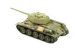 Plastic model of soviet tank Stock Photos