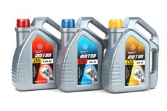 Plastic motor oil canisters with different types of motor oil on vector illustration