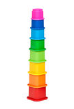 Plastic multi-colored children's pyramid Royalty Free Stock Images