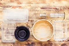 Plastic and natural dishes royalty free stock photos