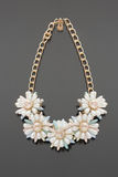 Plastic necklace. five beige flower Royalty Free Stock Image