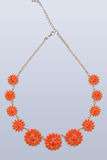 Plastic necklace. five beige flower Stock Image