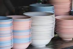 Plastic noodle bowls. On shelve stock photography