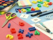 Plastic numbers. Closeup of colorful equipment for math class Stock Photo