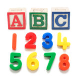 Plastic Numbers and Alphabet Blocks Stock Photos