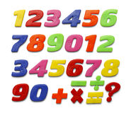 Plastic Numbers. Colored Plastic Magnetic Numbers Isolated on White Background Stock Image