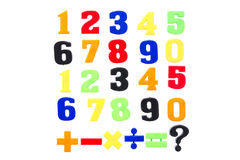 Plastic numbers isolated on white Royalty Free Stock Images