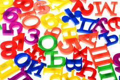 Plastic numbers and letters closeup Stock Photography