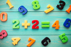 Plastic numbers with math example in a middle Royalty Free Stock Photo