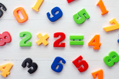 Plastic numbers with math formula in a middle Royalty Free Stock Photo
