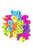 Plastic numbers maths symbols Royalty Free Stock Photography