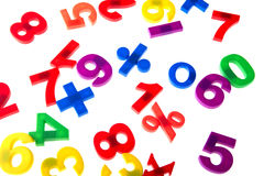 Plastic numbers on white Royalty Free Stock Photo