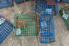 Plastic Octopus traps and molluscs. With shiny bait Stock Images