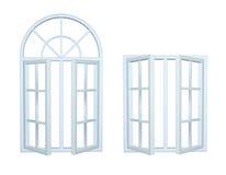 Plastic open windows isolated on white background. 3D image royalty free illustration