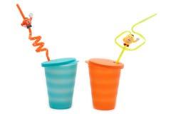 Plastic Orange And Blue Glasses Stock Photos