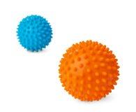 Plastic orange and blue massage balls Royalty Free Stock Image