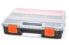 Plastic organiser. With storage compartments on a white background Stock Photos