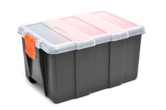 Plastic organiser. With storage compartments on a white background Royalty Free Stock Photography