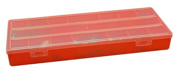 Plastic organiser with storage compartments on white. Background Stock Photos