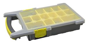 Plastic organiser with storage compartments on white. Background Stock Photography