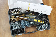 Plastic organizer with screws and screwdriver Stock Photography