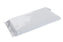 Plastic pack. White blank foil packaging. plastic pack. ready for your design Royalty Free Stock Images