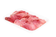 Plastic pack of raw meat slices. Isolated on the white background Royalty Free Stock Image