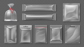 Plastic package. Realistic clear bag mockup, 3d transparent food product pack set, blank glossy foil. Vector candy snack vector illustration