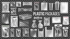 Free Plastic Packages Transparent Wrap Set Vector. Empty Food Product Polyethylene Package Mock Up Template. Realistic Nylon Royalty Free Stock Images - 131885629
