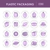 Plastic packaging containers line vector icons bottles, sprayer disposable dishware Royalty Free Stock Photos