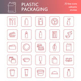 Plastic packaging, disposable tableware line icons. Product container, bottle, packet, canister, plates and cutlery Royalty Free Stock Image