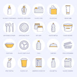Plastic packaging, disposable tableware line icons. Product packs, container, bottle, packet, canister, plates and Stock Photography