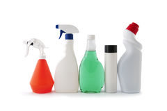 Plastic packaging for household chemicals.  Royalty Free Stock Image