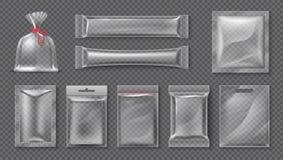 Plastic Pakket Realistisch duidelijk zakmodel, 3d transparante reeks van het voedingsmiddelenpak, lege glanzende folie Vectorsuik vector illustratie