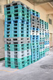 Plastic pallets are stacked can cause accidents. Royalty Free Stock Photos