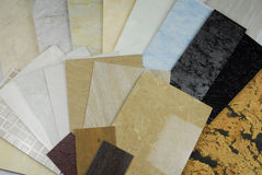 Plastic panels marble samples Royalty Free Stock Photography