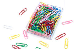 Plastic paper clips Royalty Free Stock Image