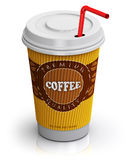 Plastic or paper coffee cup with straw Royalty Free Stock Images