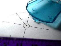 Plastic part on technical drawing Royalty Free Stock Photos