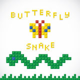 Plastic Parts Butterfly & Snake Toys Royalty Free Stock Images