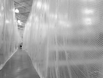 Plastic path. Plastic walls in warehouse Royalty Free Stock Photos